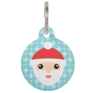 Cute Cartoon Santa Claus With Pet's Info Pet Name Tag