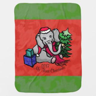 Cute Cartoon Santa Elephant First Christmas Baby Blanket