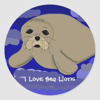 Cute Cartoon Sea Lion Round Sticker