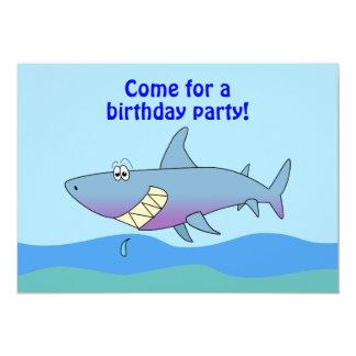 Cute Cartoon Shark Birthday Invitations Template
