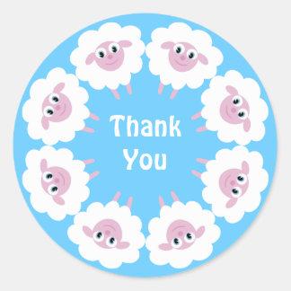 Cute Cartoon Sheep Blue Custom Thank You Round Sticker