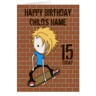 Cute Cartoon Skateboarder Teen Boy Blonde Hair Card