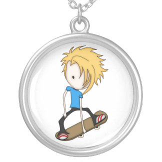 Cute Cartoon Skateboarder Teen Boy Blonde Hair Round Pendant Necklace