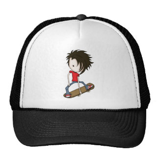 Cute Cartoon Skateboarder Teenage Boy Cap