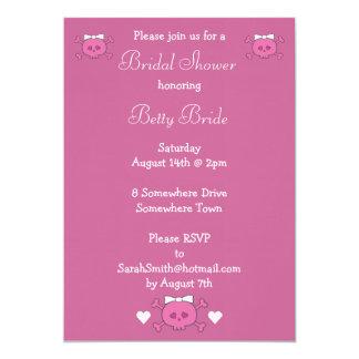 Cute Cartoon Skull Bride Pink Linen Bridal Shower Card