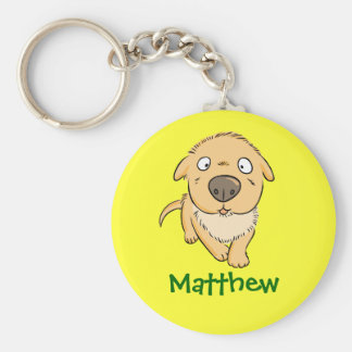 Cute Cartoon Sniffing Dog Personalized Name Gift Key Ring