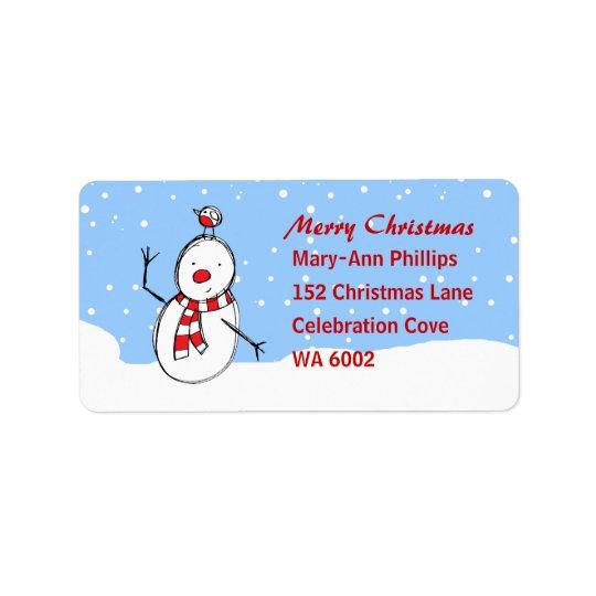 Cute Cartoon Snowman and robin Address Label
