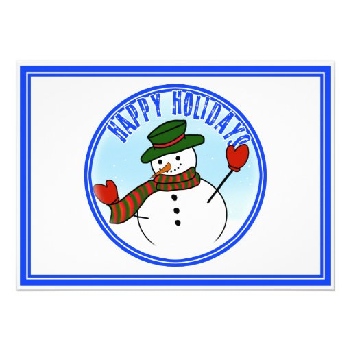 Cute Cartoon Snowman w/Green Hat & Mittens Personalized Announcements