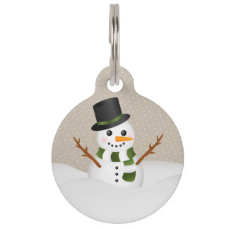 Cute Cartoon Snowman With Pet's Info Christmas Pet ID Tag