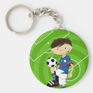 Cute Cartoon Soccer Football Boy Keychain