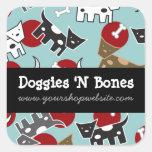 Cute Cartoon Spotted Doggies & Bones Pet Shop Square Sticker