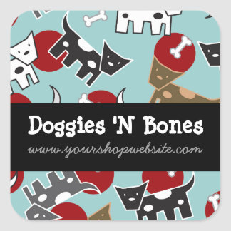 Cute Cartoon Spotted Doggies & Bones Pet Shop Square Sticker