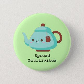 Cute cartoon 'spread positivitea' tea 6 cm round badge