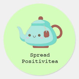 Cute cartoon 'spread positivitea' tea classic round sticker