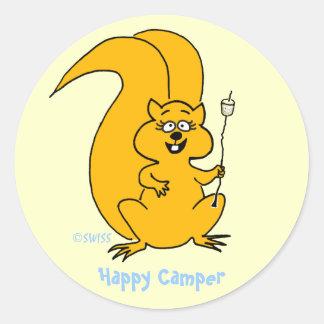 Cute Cartoon Squirrel Happy Camper Envelope Seals