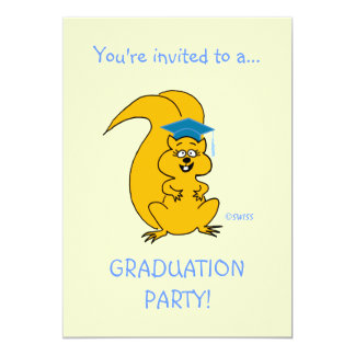 Cute Cartoon Squirrel Outdoor Graduation Party Fun Card