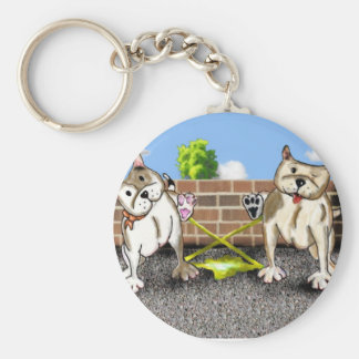 Cute cartoon Staffie Keyring - X factor Basic Round Button Key Ring
