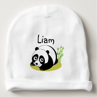 Cute cartoon style black and white panda bear, baby beanie