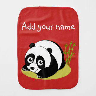 Cute cartoon style black and white panda bear, burp cloth