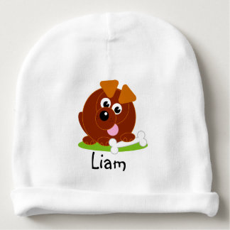Cute cartoon style brown puppy dog holding a bone, baby beanie