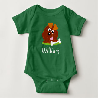 Cute cartoon style brown puppy dog holding a bone, baby bodysuit