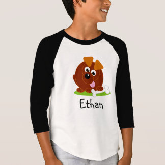 Cute cartoon style brown puppy dog holding a bone, T-Shirt
