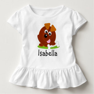 Cute cartoon style brown puppy dog holding a bone, toddler T-Shirt