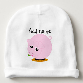 Cute cartoon style illustration of a pink pig, baby beanie