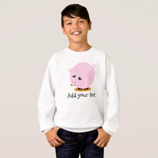 Cute cartoon style illustration of a pink pig, sweatshirt