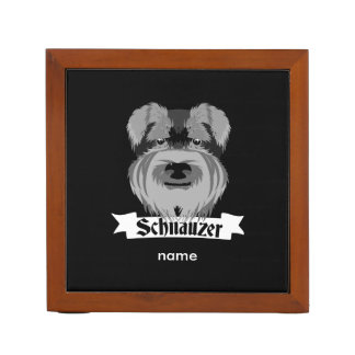 Cute Cartoon Style Schnauzer Desk Organiser