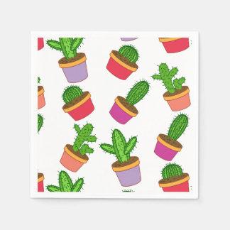 Cute Cartoon Succulent and Cactus Paper Napkins