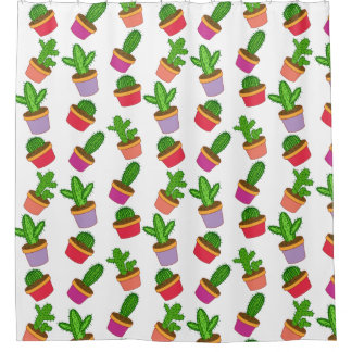 Cute Cartoon Succulent and Cactus Shower Curtain