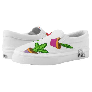 Cute Cartoon Succulent and Cactus Slip-On Shoes
