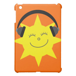Cute Cartoon Sun DJ Customizable Orange Cover For The iPad Mini