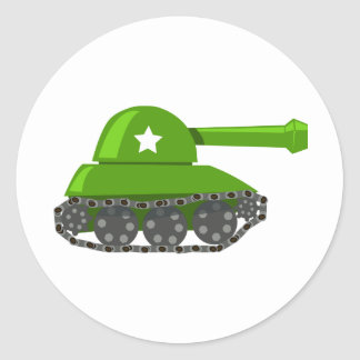 Cute Cartoon Tank Round Sticker