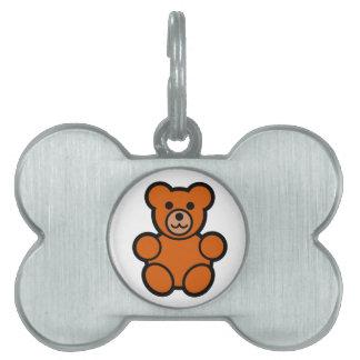 Cute Cartoon Teddy Bear Pet Name Tag