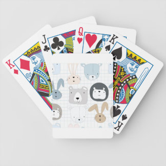 Cute cartoon teddy bear toddler and rabbit bunny bicycle playing cards