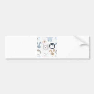 Cute cartoon teddy bear toddler and rabbit bunny bumper sticker