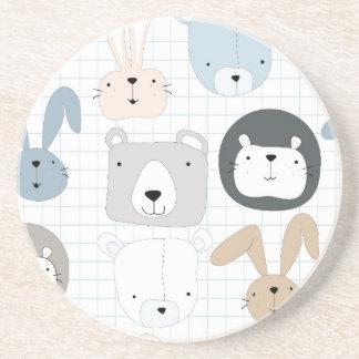 Cute cartoon teddy bear toddler and rabbit bunny coaster