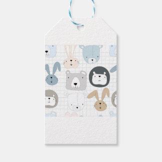 Cute cartoon teddy bear toddler and rabbit bunny gift tags