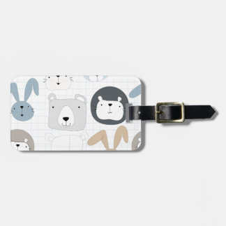 Cute cartoon teddy bear toddler and rabbit bunny luggage tag