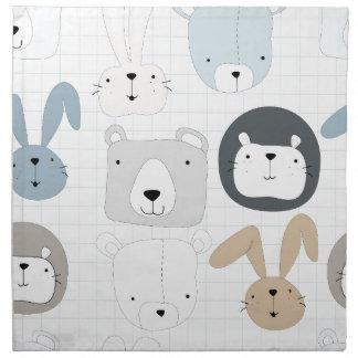 Cute cartoon teddy bear toddler and rabbit bunny napkin