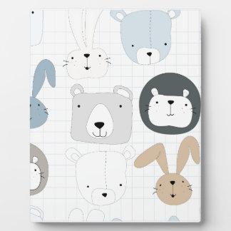 Cute cartoon teddy bear toddler and rabbit bunny plaque