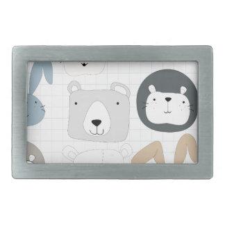 Cute cartoon teddy bear toddler and rabbit bunny rectangular belt buckle
