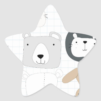 Cute cartoon teddy bear toddler and rabbit bunny star sticker