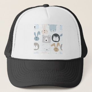 Cute cartoon teddy bear toddler and rabbit bunny trucker hat