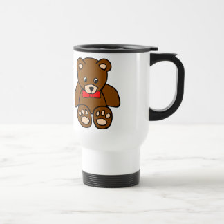 Cute Cartoon Teddy Bear Wearing Red Bow Tie Travel Mug