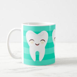 Cute Cartoon Teeth - Teal Stripes Mug