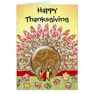 Cute Cartoon Thanksgiving Turkey Greeting Card