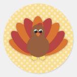 Cute Cartoon Thanksgiving Turkey Round Sticker